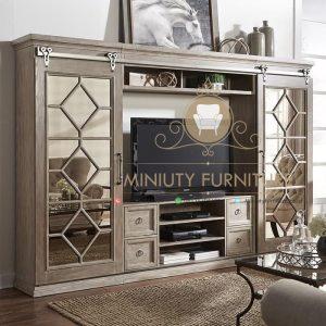 lemari tv pintu sleding terbaru minimalis