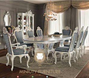 set meja makan klasik mewah ukiran italian