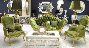sofa tamu hijau ukiran klasik