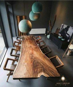 mebel meja makan kayu trembesi mewah modern