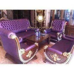 set sofa tamu ungu mewah model terbaru