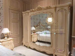 almari pakaian cermin duco putih