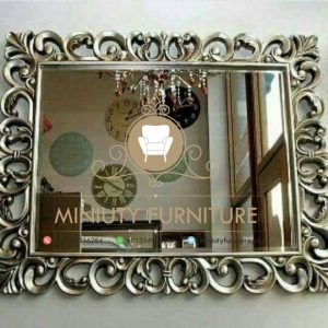 cermin dinding ukir model kotak