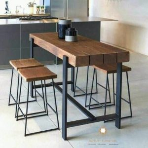 furniture interior set meja cafe besi kombinasi kayu
