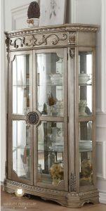 lemari hias pajangan kaca ukir modern