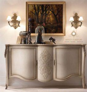 meja console klasik duco putih