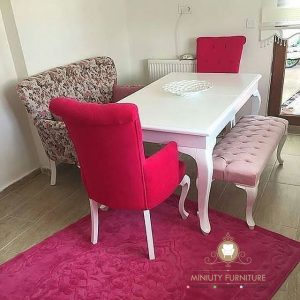 meja makan duco putih sofa