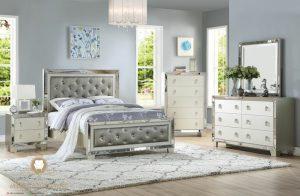 set kamar tidur unik kombinasi kaca modern
