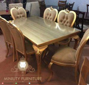 set meja makan klasik duco emas
