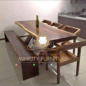 set meja makan, meja cafe kayu trembesi