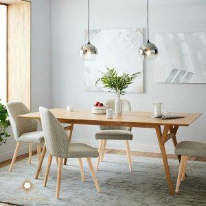 set meja makan minimalis cafe model retro