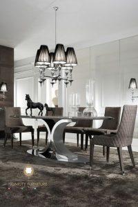 set meja makan mewah stainles modern turki arabian