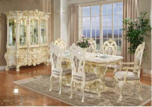 set ruang makan ukir mewah klasik model terbaru jepara