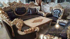 set sofa tamu ukir mawar mewah