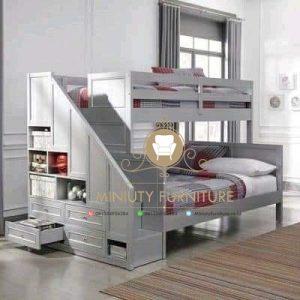 tempat tidur anak tingkat laci modern