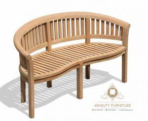 bangku taman lengkung minimalis kayu jati terbaru