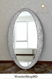 cermin dinding oval kayu jati terbaru