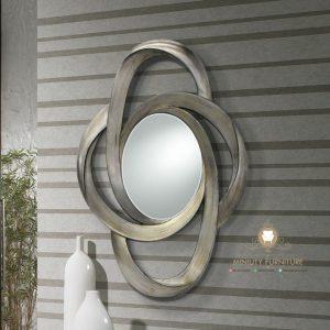 figura cermin dinding oval modern