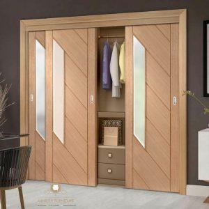 lemari pakaian minimalis modern pintu geser