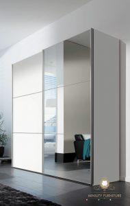 lemari pakaian sleding duco putih pintu kaca