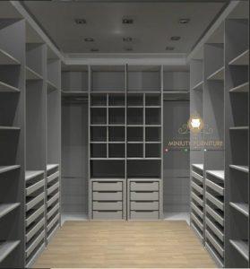 lemari pakaian sudut minimalis modern HPL