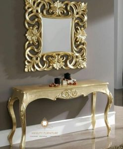 meja console ukir gold modern