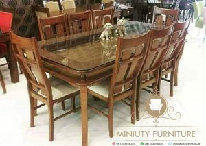 set meja makan keluarga top kaca terbaru