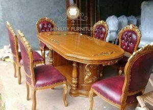 set meja makan mawar salina kayu jati