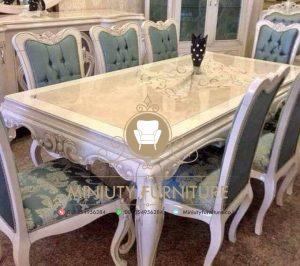 set meja makan model klasik duco putih