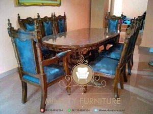 set meja makan table glass manohara