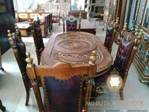 set meja makan ukir kursi manohara modern