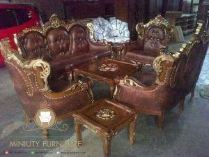 sofa tamu ukir mawar kayu jati terbaru