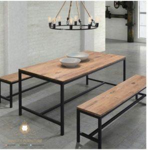 set meja makan restoran cafe minimalis kaki besi