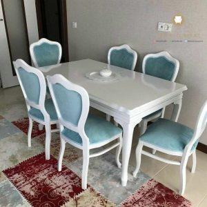 meja makan klasik duco putih