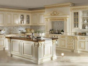 kitchen set duco putih mewah gaya italia