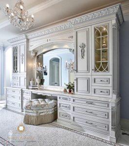 lemari hias meja cermin mewah modern putih