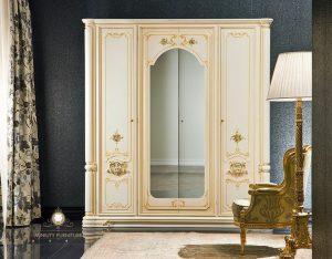 lemari pakaian kayu duco putih modern