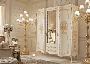 lemari pakaian ukir duco putih modern