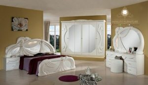 set kamar tidur mewah kayu duco putih