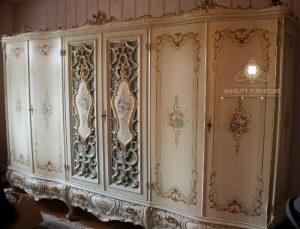 wardrobe klasik modern ukir duco putih