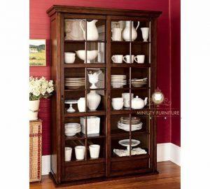 cabinet kaca rak piring minimalis kayu terbaru