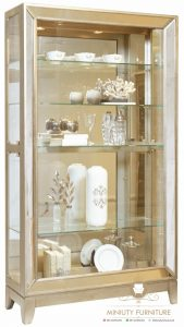 cabinet lemari kaca hias kayu minimalis model terbaru
