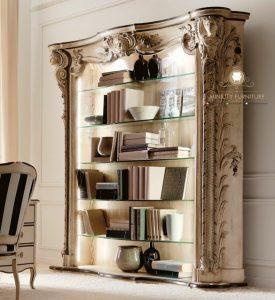 cabinet lemari kaca rak buku kayu ukiran mewah model terbaru