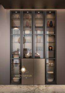 cabinet lemari rak kaca minimalis modern model terbaru