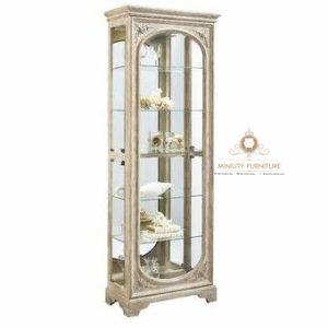 kabinet lemari kaca minimalis antik kayu modern terbaru