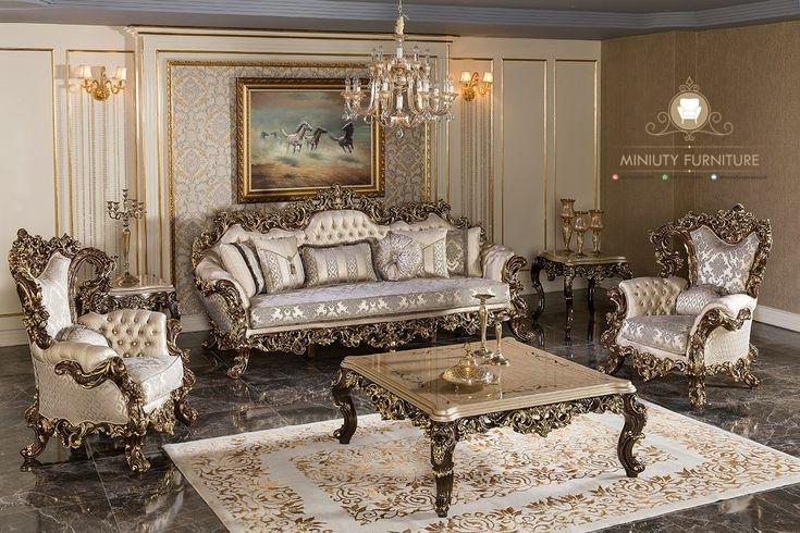 Living Room Sofa Ukir Mewah Luxury Eropa Miniuty Furniture