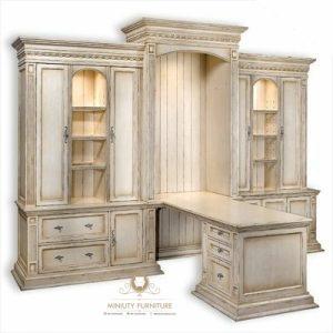 meja kerja lemari rak buku kayu model minimalis antik terbaru