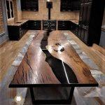 meja makan kayu trembesi cat resin