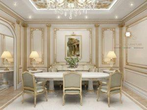 meja makan mewah elegant duco putih terbaru