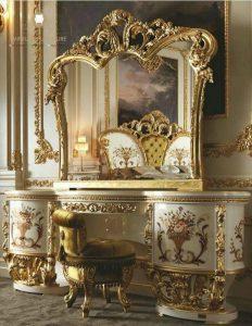 meja rias ukir mewah kayu italia style terbaru